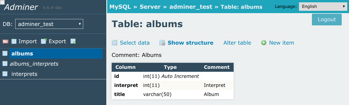 Adminer - Database management in a single PHP file
