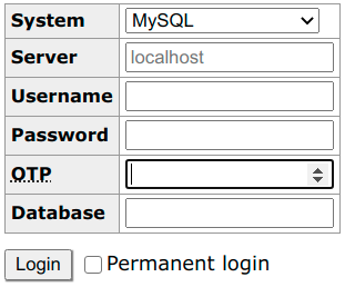 Adminer login form